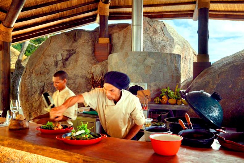 Cocina del hotel Six Senses en Seychelles