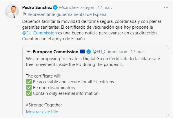 Pasaorte Covid Gobierno de España